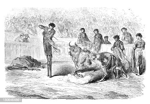 Torero Miguel Lopez Gorrito mounted on stilts at bullring in Seville Original edition from my own archives Source : Tour du monde 1867 Drawing : G. Doré - L. Dumont