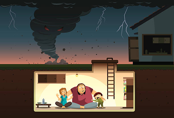 Tornado Attack! A family hiding from the raging tornado inside an underground bunker. bomb shelter stock illustrations