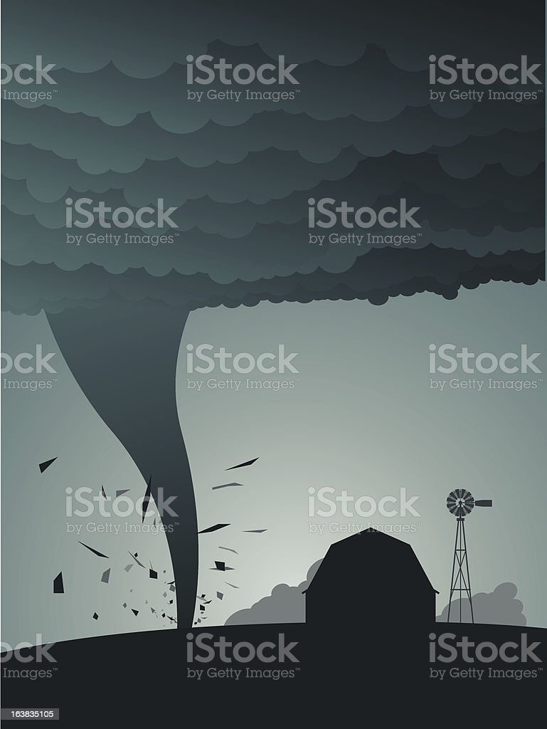 Tornado in the country vector art illustration