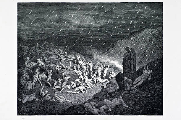 "Torture of the fiery rain ""The torture of the fiery rain, a scene from Dante's inferno. Engraving from 1870. Engraving by Gustave Dore, Photo by D Walker."" seven deadly sins stock illustrations"