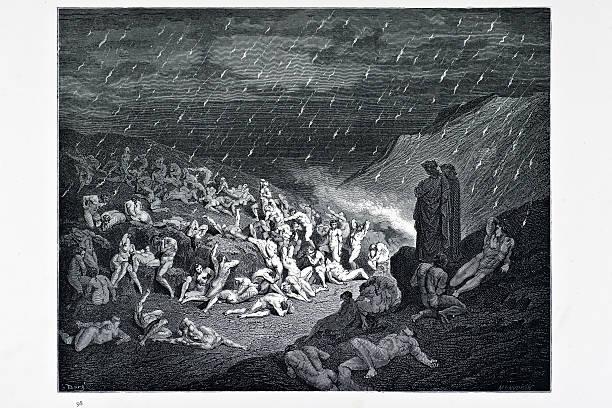 illustrazioni stock, clip art, cartoni animati e icone di tendenza di la tortura del celebre pioggia - dante alighieri