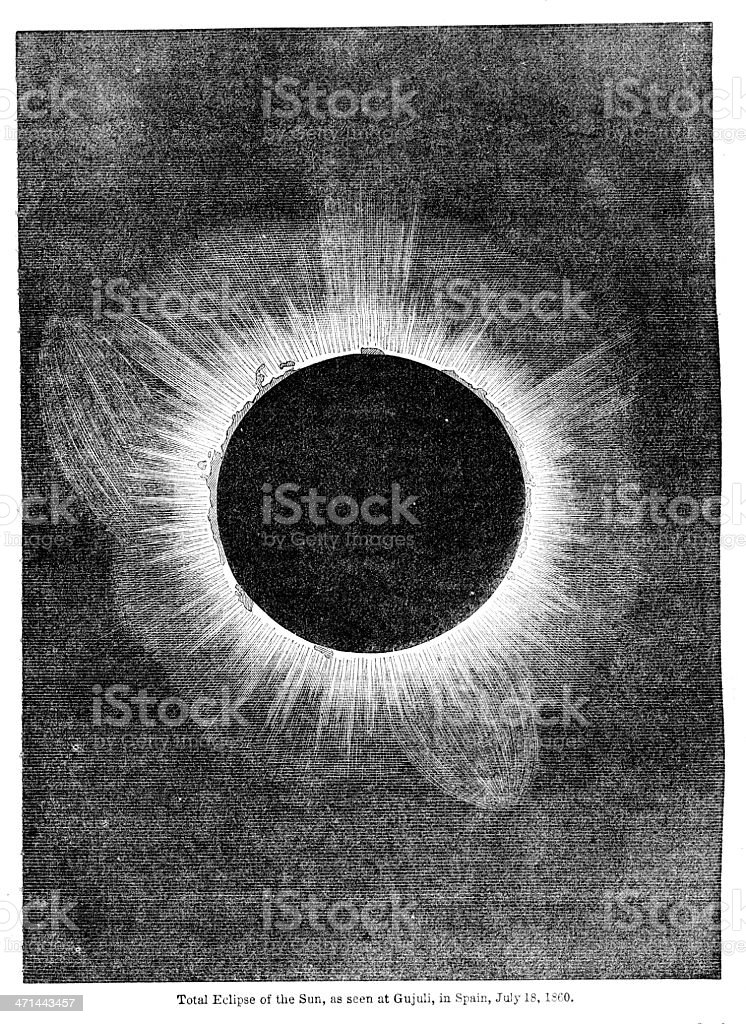 Total solar eclipse July18 1860  from 1867 journal vector art illustration