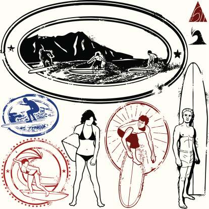 Totally Gnarly Surf Stamps Stock Illustration - Download Image Now