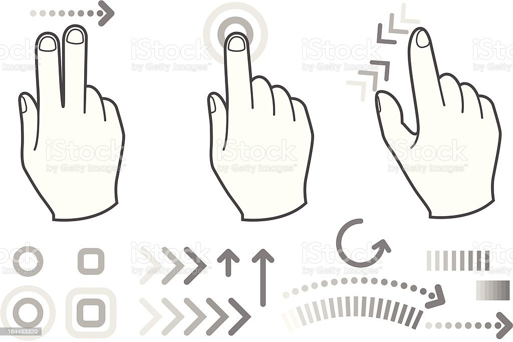 Touch screen gesture hand signs vector art illustration