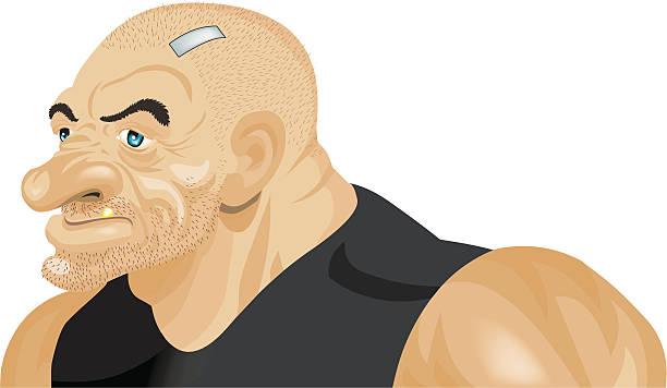 stockillustraties, clipart, cartoons en iconen met tough guy - kaal geschoren hoofd