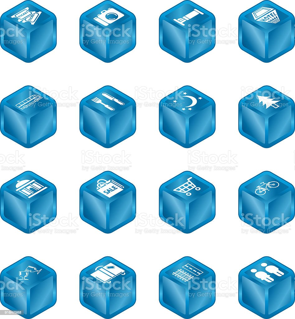 Tourist Locations Cube Icon Set royalty-free tourist locations cube icon set stock vector art & more images of achievement