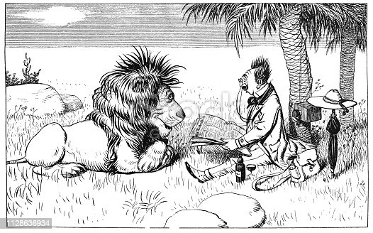 Tourist reads news from the world to the lion. Funny scene - 1896