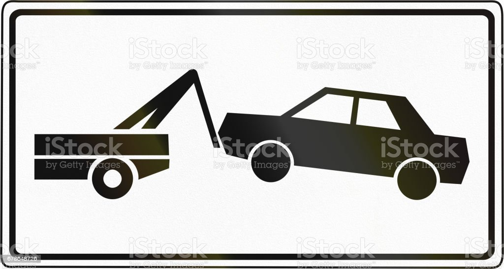Tow Away Zone Sign used in Slovenia vector art illustration