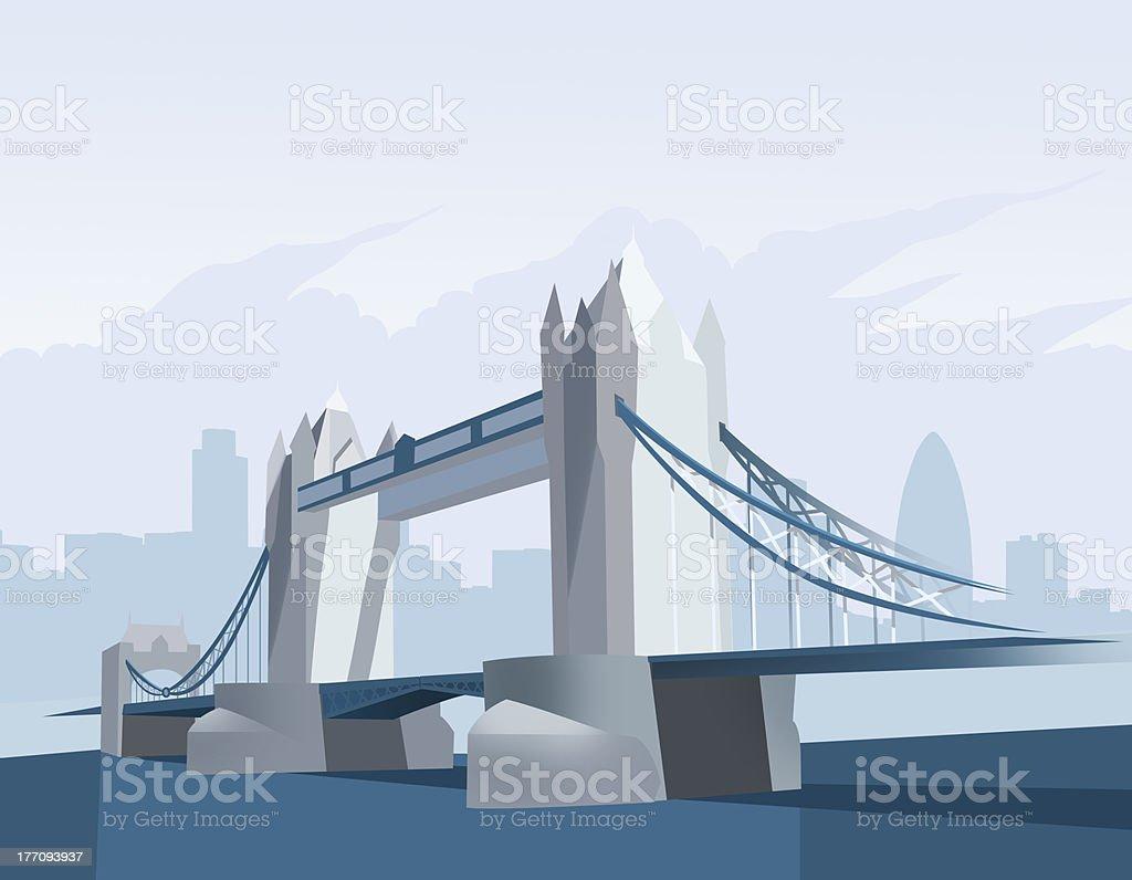 Tower bridge in London vector art illustration