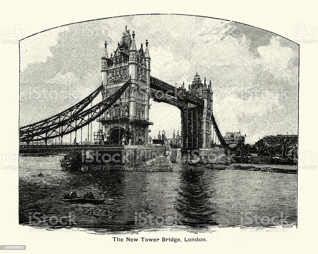 Tower Bridge, London, 1894 vector art illustration