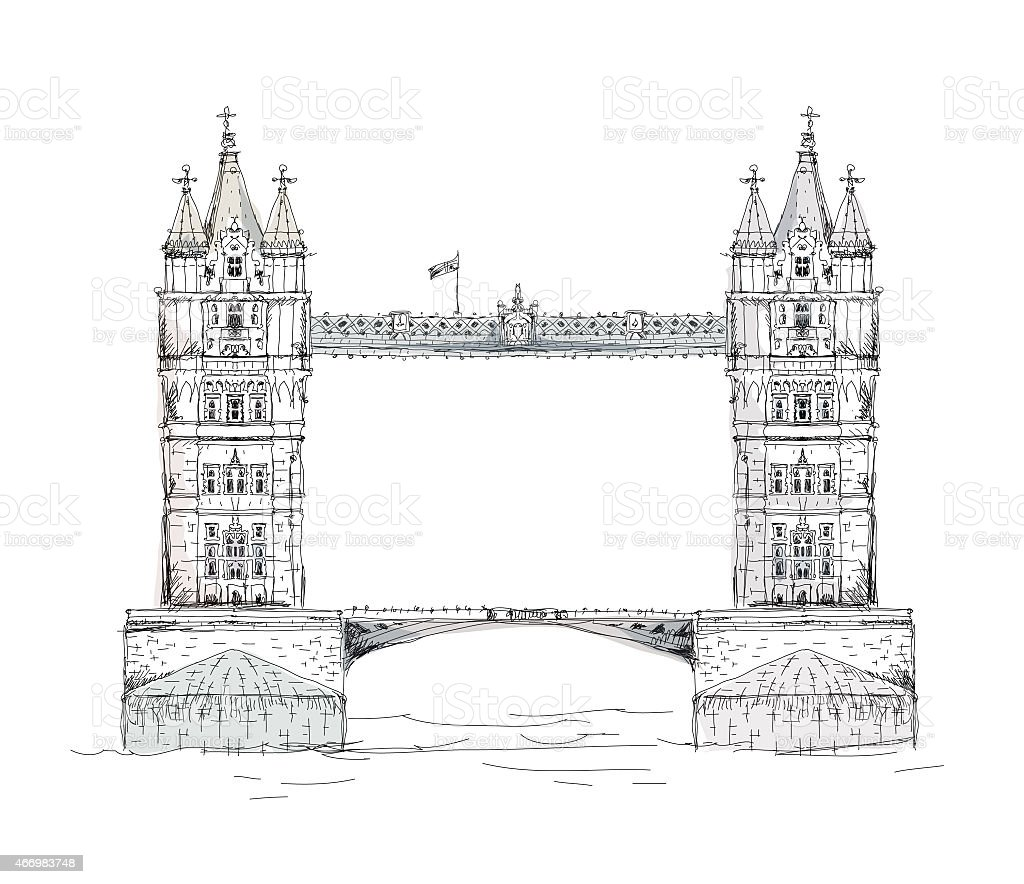 Tower bridge, London. Sketch collection vector art illustration