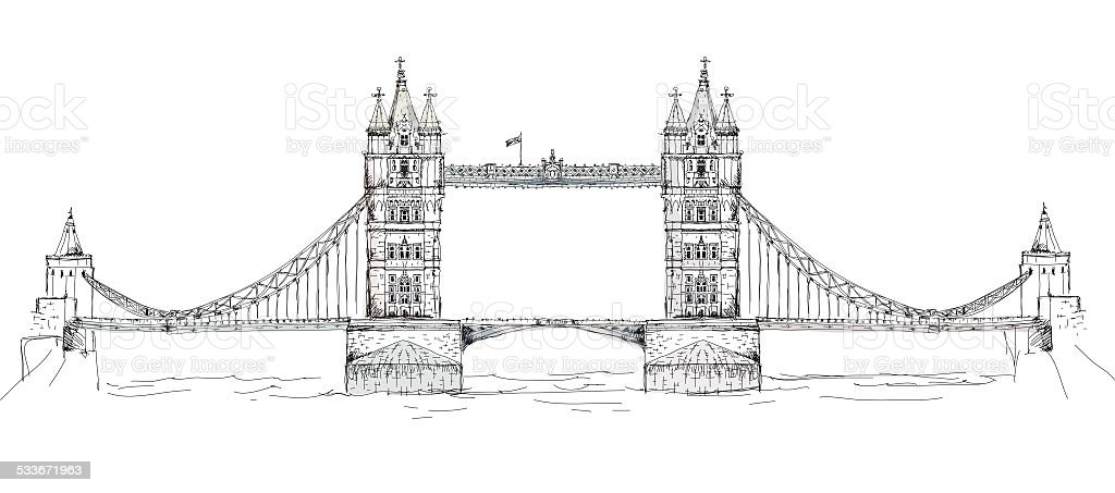 Tower Bridge London Sketch Collection Stock Vector Art U0026 More Images Of 2015 533671963 | IStock