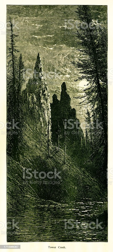 Tower Creek, Yellowstone National Park, royalty-free tower creek yellowstone national park stock vector art & more images of 19th century