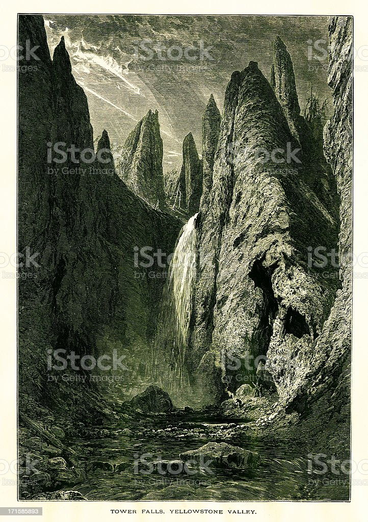 Tower Fall in Yellowstone National Park royalty-free stock vector art