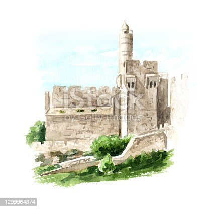 Tower of David in Jerusalem, Israel. Hand drawn watercolor illustration, isolated on white background