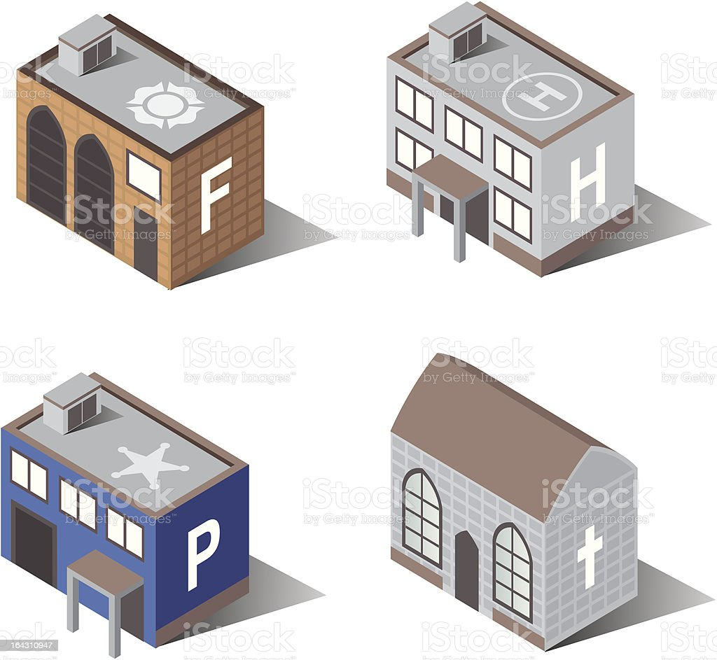 Town Buildings | Protection vector art illustration