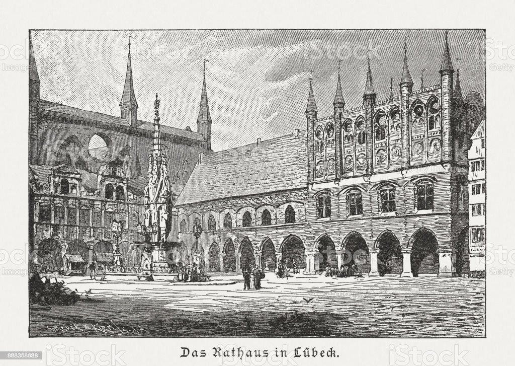 Town Hall in Lübeck, Germany, wood engraving, published in 1887 vector art illustration