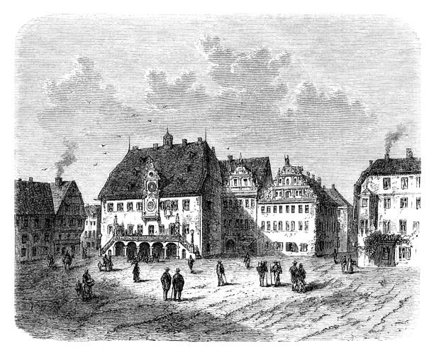 Town hall in the City of Heilbronn Germany 1880 Engraving showing City of Heilbronn with town hall in Germany Original edition from my own archives Source : Illustriertes Konversations Lexikon 1880 now in public domain 1880 stock illustrations