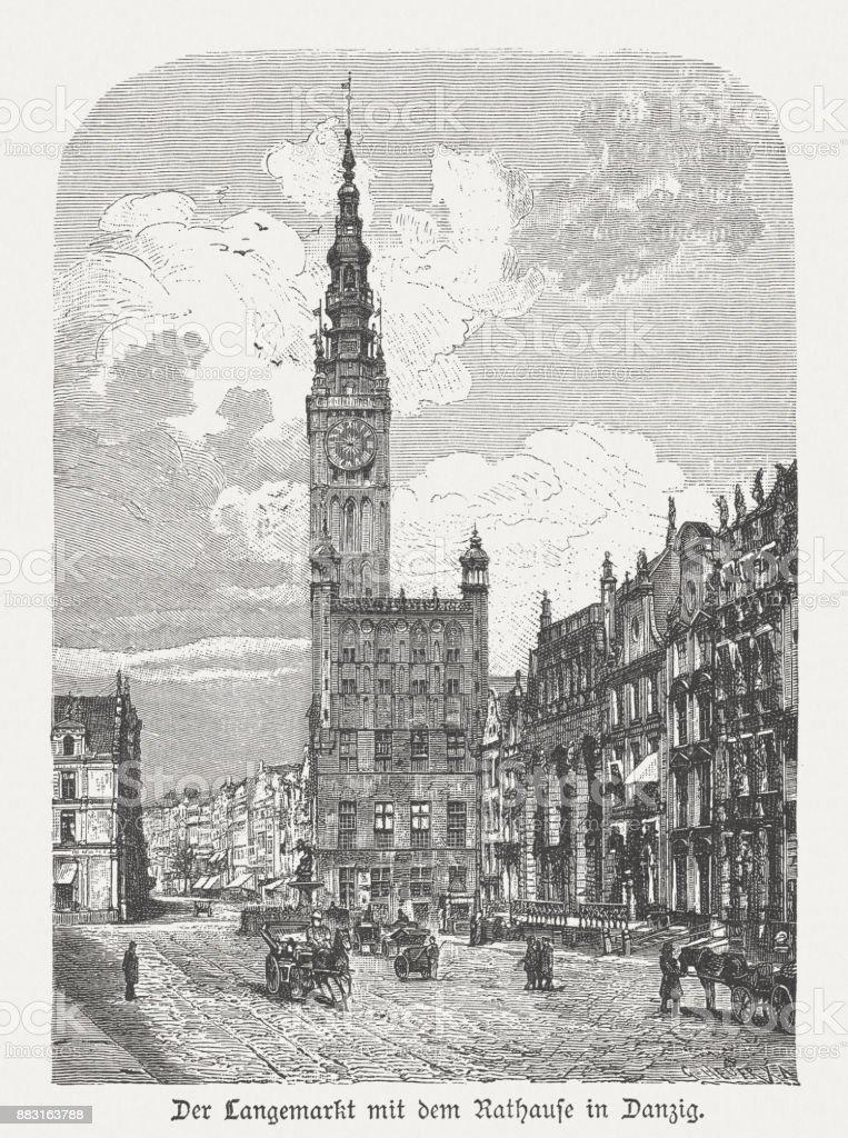 Town Hall of Gdansk (Danzig), Poland, wood engraving, published 1884 vector art illustration