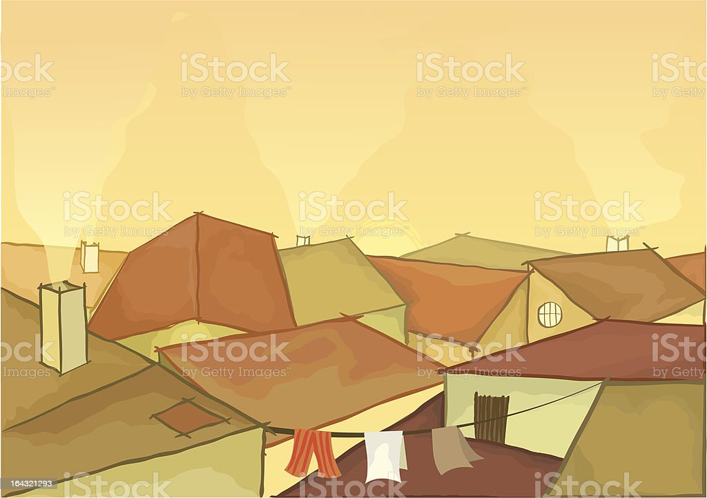 Town roofs royalty-free stock vector art