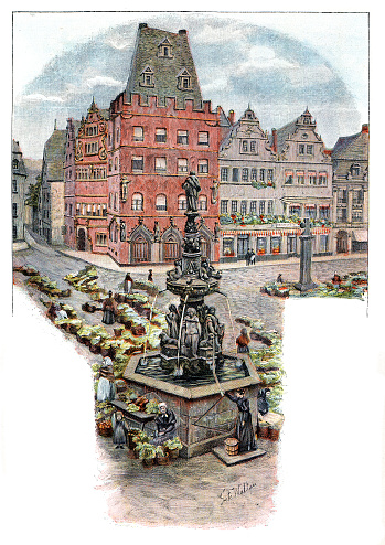 Town Square in Trier Germany 1896 Original edition from my own archives Source :