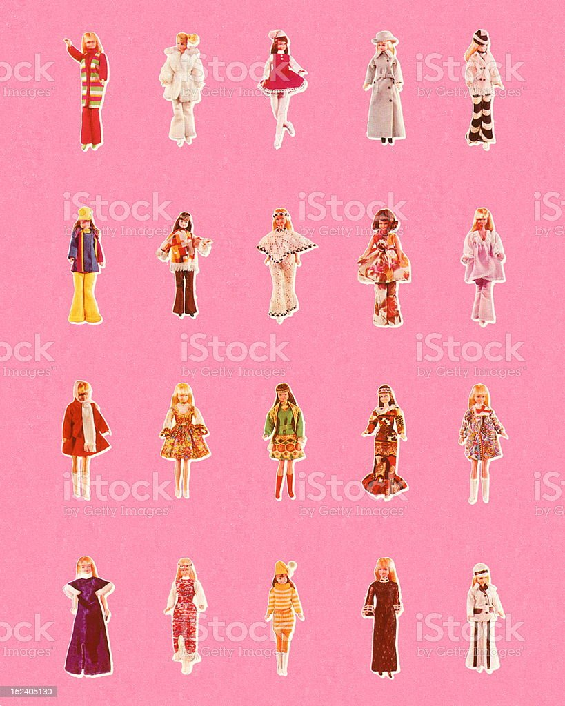 Toy Dolls in Various Outfits royalty-free stock vector art