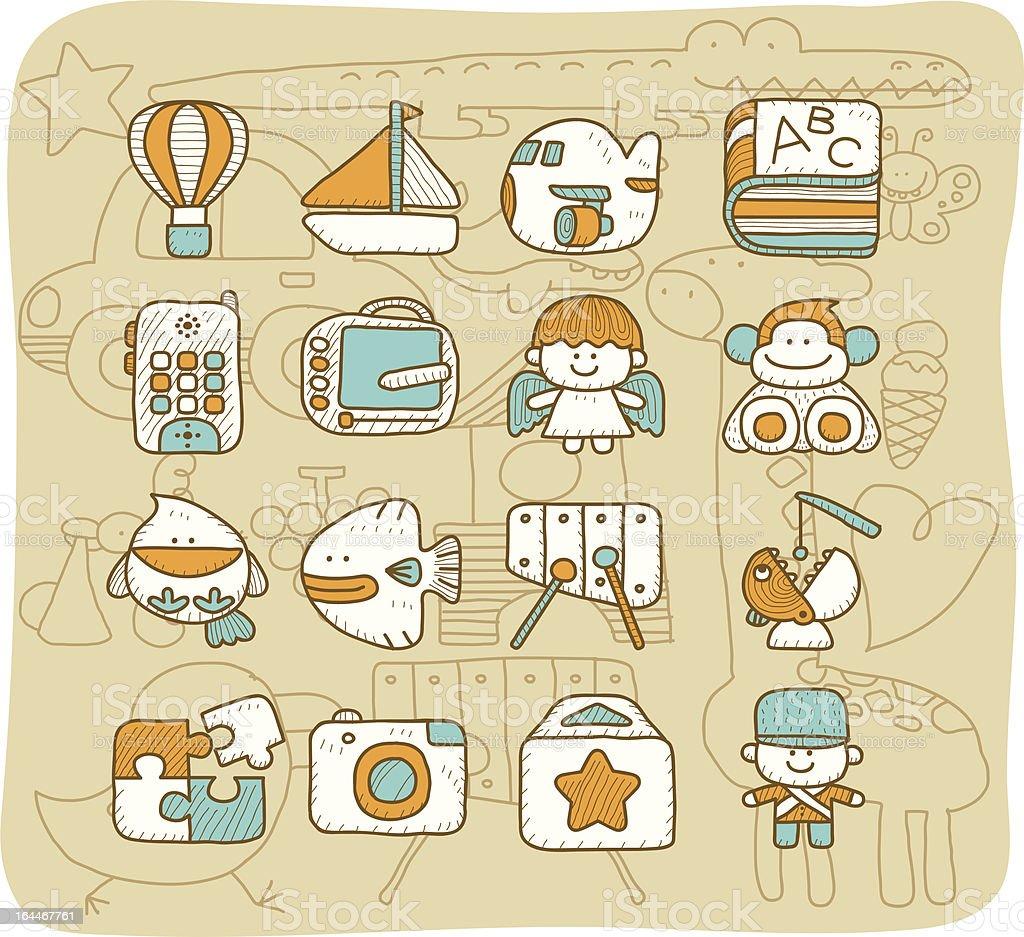 Toy icon set | Mocha Series royalty-free stock vector art