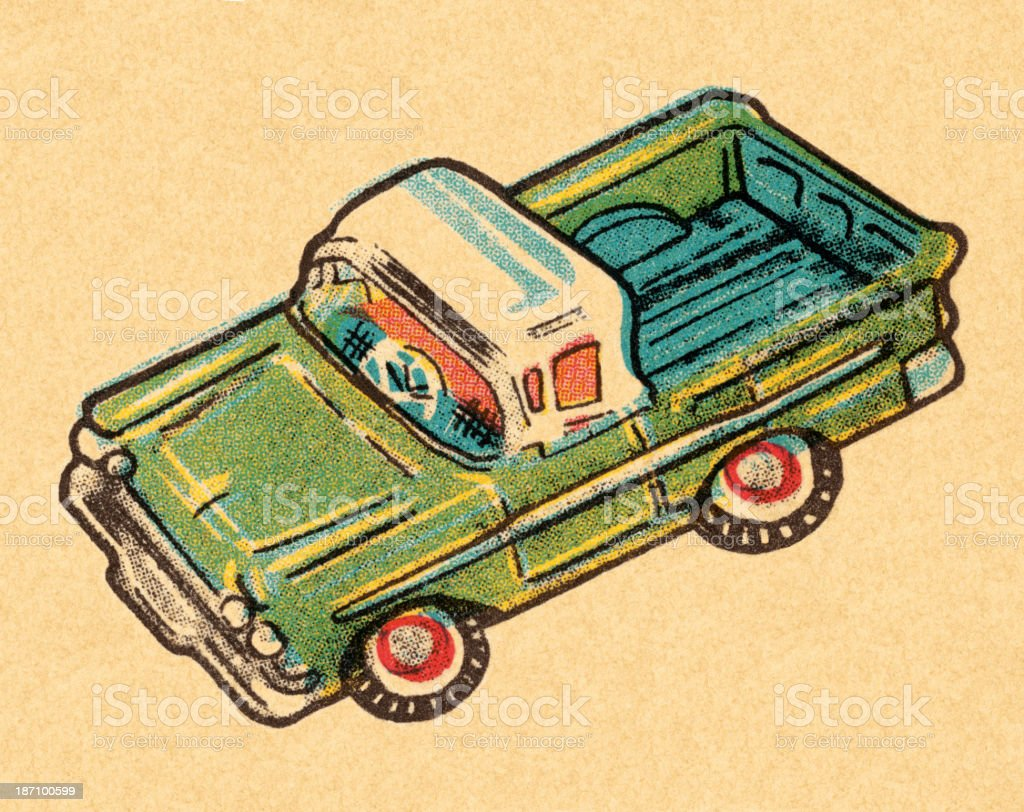 Toy Pickup Truck royalty-free stock vector art