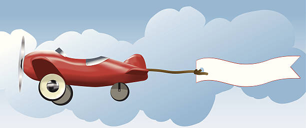 toy plane and banner - 1940s style stock illustrations, clip art, cartoons, & icons