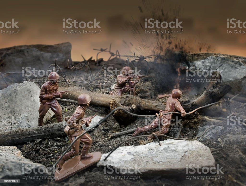 Escena Guerra Más Ilustración Vectores Soldado La Y De Juguete W2IYDEH9