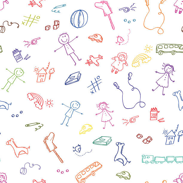 toys pattern vector art illustration