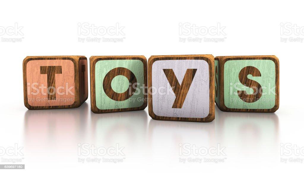 toys wooden blocks. 3d illustration - ilustración de arte vectorial