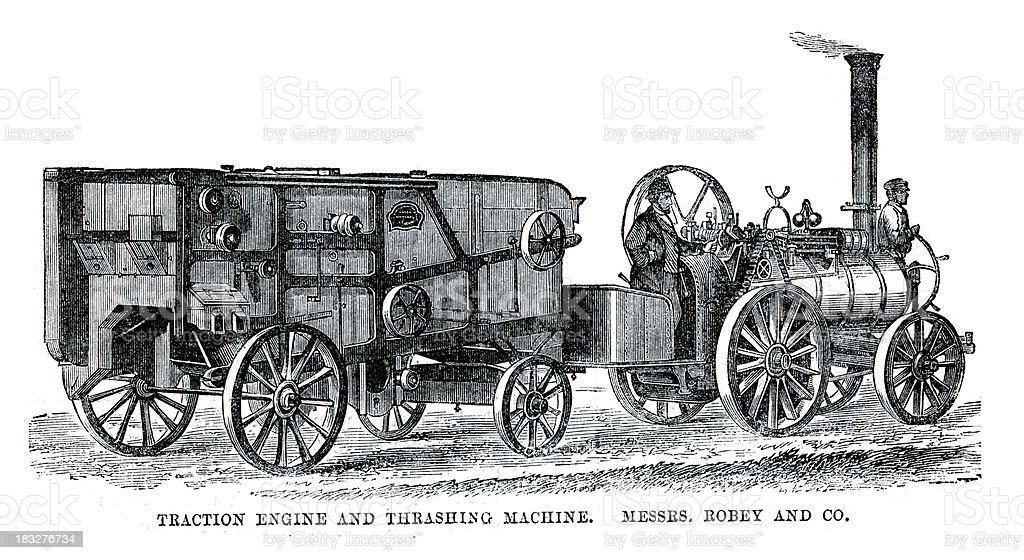 Traction Engine and Thrashing Machine vector art illustration
