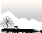 A tractor in a field. Color can be added reasonably simply if required. All main elements can be easily moved. Plenty of space for type or copy.