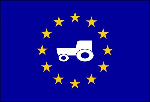 Traktor als Symbol für die gemeinsame Agrarpolitik Europas – Vektorgrafik