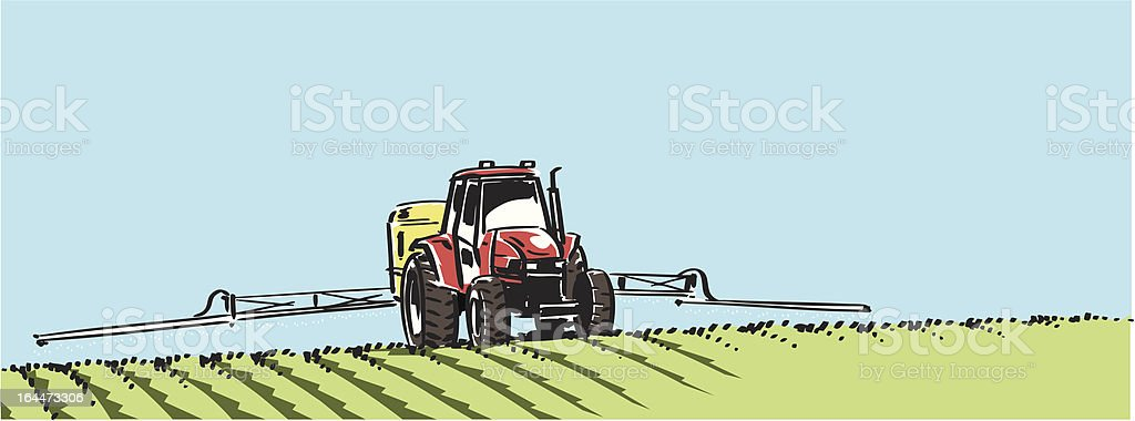 Tractor with sprayer on a field vector art illustration