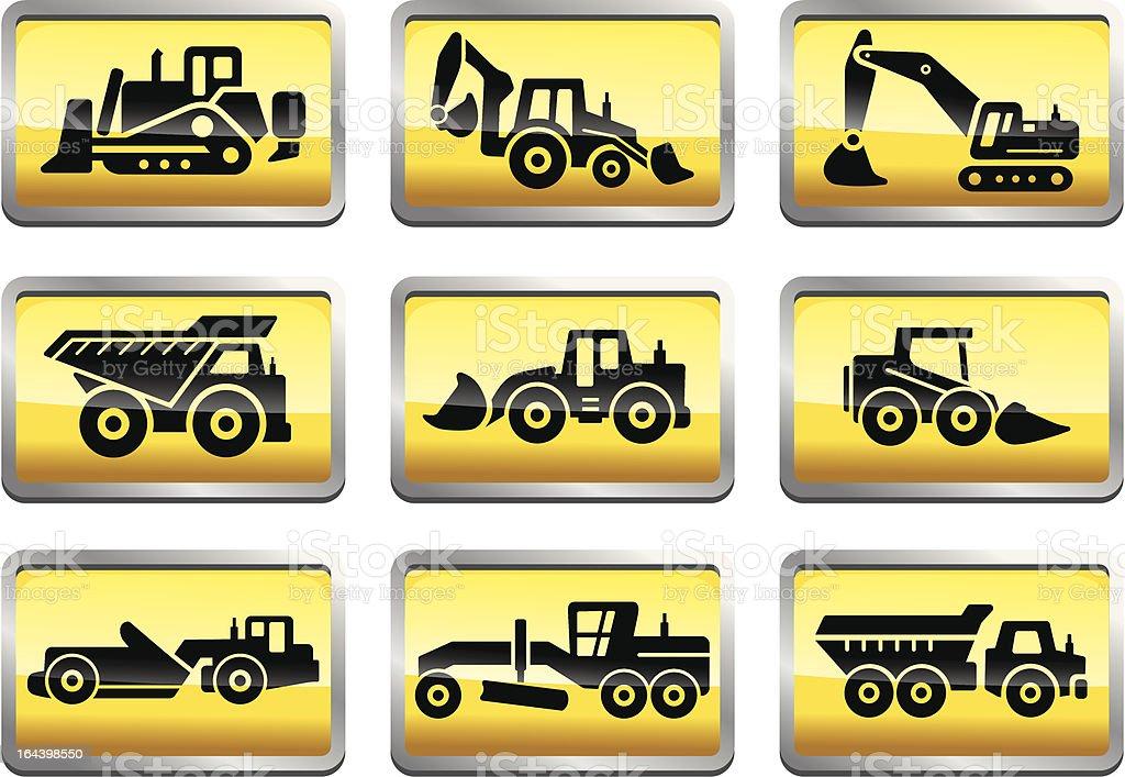 Tractors and trucks icons vector art illustration