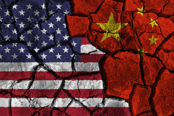 Trade war between United states of america VS China . flag on cracked wall background . Confliction and crisis concept . Trade war between United states of america VS China . flag on cracked wall background . Confliction and crisis concept . china stock illustrations