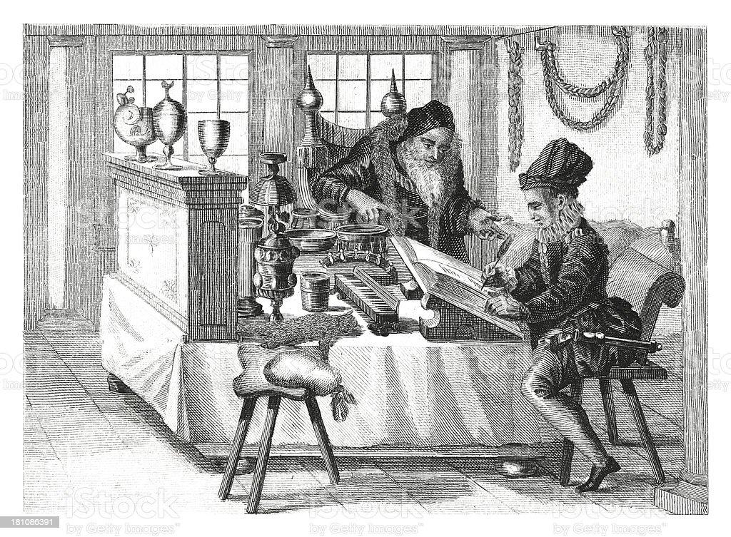 Traders office in XVI century (antique wood engraving) vector art illustration