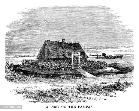 Trading post on the Pampas - Scanned 1880 Engraving