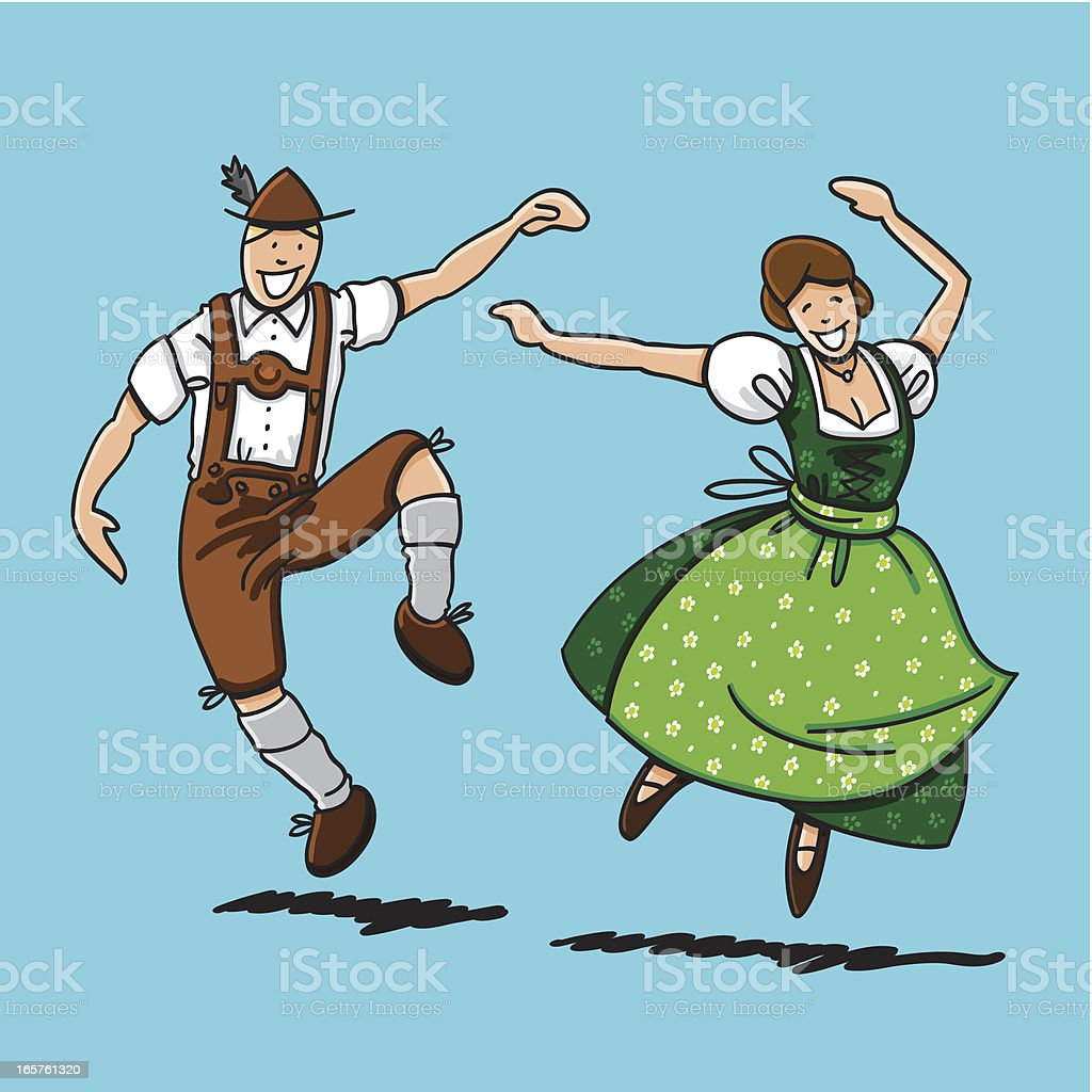 Traditional Bavarian Couple Dancing vector art illustration