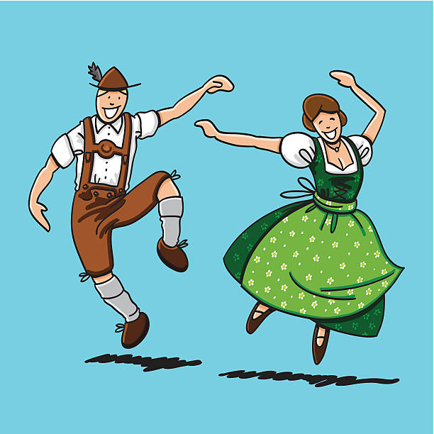 "Traditional Bavarian Couple Dancing ""Vector illustration of a bavarian couple in Dirndl and Lederhosen. They are dancing at the Oktoberfest. The line art, color and background are on separate layers, so you also can use the illustration on your own background. The colors in the .eps-file are ready for print (CMYK). Included files: EPS (v8) and Hi-Res JPG."" doodle NOT black and white stock illustrations"