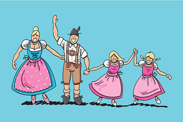 "Traditional Bavarian Family With Two Daughters ""Vector illustration of a happy bavarian family in Dirndl and Lederhosen. The line art, color and background are on separate layers, so you also can use the illustration on your own background. The colors in the .eps-file are ready for print (CMYK). Included files: EPS (v8) and Hi-Res JPG."" doodle NOT black and white stock illustrations"