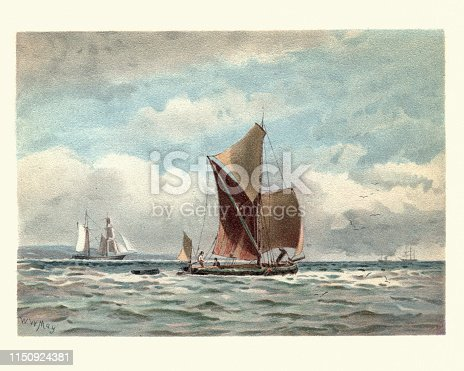 Vintage painting of Traditional boats on the Thames estuary, 19th Century, by Walter William May