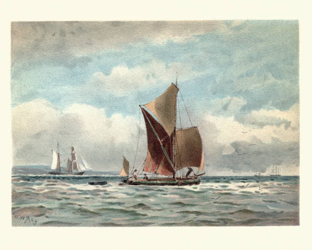 ilustrações de stock, clip art, desenhos animados e ícones de traditional boats on the thames estuary, victorian, 19th century - estuário