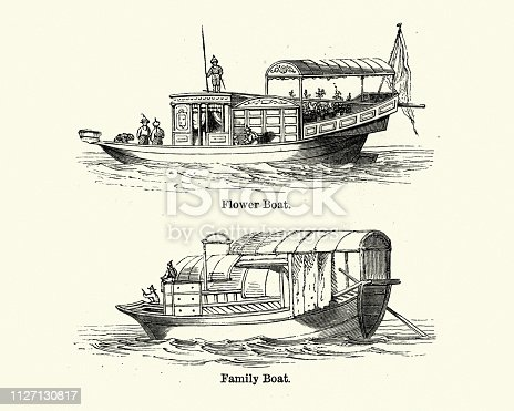 Vintage engraving of Traditional Chinese boats, 19th Century.  Flower boat and family boaty