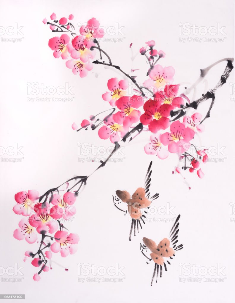 Traditional Chinese Painting Spring Plum Blossom And Birds Stock  Illustration - Download Image Now