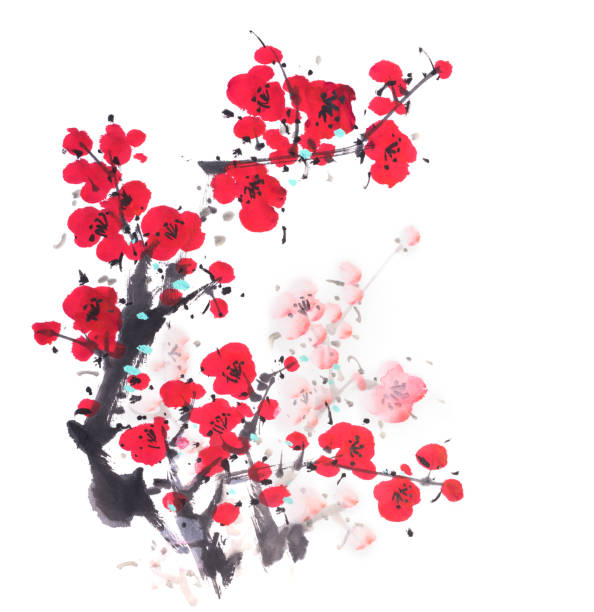 Traditional chinese painting Spring plum blossom Traditional chinese painting Spring plum blossom plum blossom stock illustrations