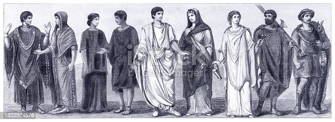 istock Traditional clothing in Ancient rome illustration 1322324578