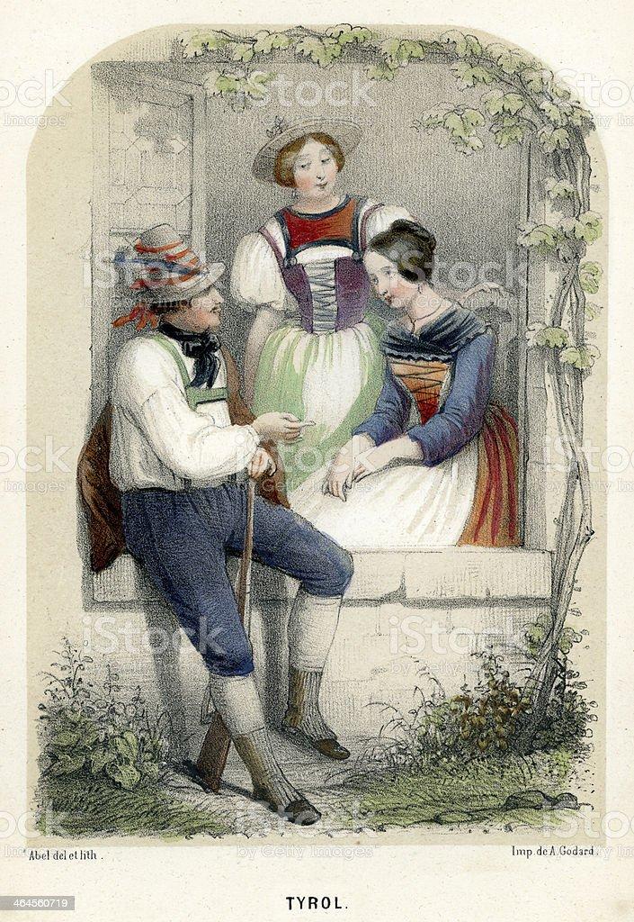 Traditional Costume of Tyrol vector art illustration